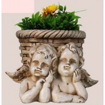 Two Small Dreaming Angle Garden Planter Sculpture