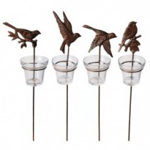 Unique Bird Shaped Cast Iron Votive Holder Set of 4 Pcs