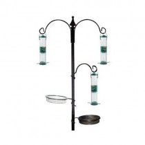 Unique Black Finish Metal Bird Feeding Station Set