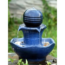 Unique Blue Ceramic Led Water Fountain
