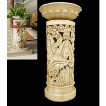 Unique Carved Floral & Leaf Pedestal With Flowerpot