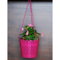 Unique Pink Lace Pattern Hanging Planter