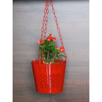 Unique Red Lace Pattern Hanging Planter