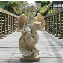 Unique White Angel Sitting On Ball  Sculpture