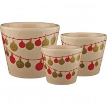 Vanilla Cream Round Ceramic Planter Set of 3 Pcs
