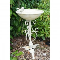 Vintage Cream Finish Iron Bird Bath