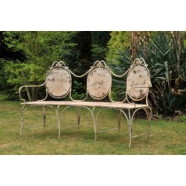 Vintage Cream Finish Metal Garden Bench