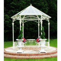 Vintage Cream Finish Metal Gazebo