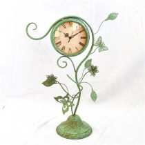 Vintage Green Decorative Table Top Metal Clock