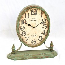 Vintage Green Table Top Metal Clock