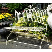 Vintage Style Handmade Wrought Iron Garden Bench