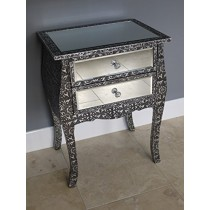 Vintage Style Silver Embossed Mirrored Glass Table