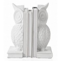 Vintage White Owl Design Mango Wood Bookends