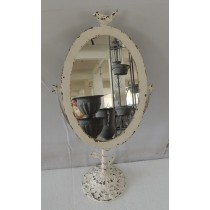 Vintage White Washed Classical Bird Metal Mirror