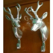 Wall Mounted Stag Head Coat Hooks Pair Deer Head Buck Antelope Set in 2 Pcs