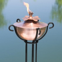 Water Lily Copper Garden Torch With Trellis Floor Stand