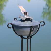 Water Lily Design Garden Torch With Trellis Floor Stand