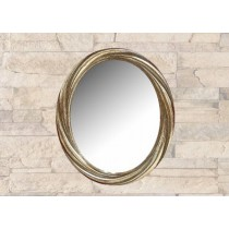 Wavy Design Oval Wall Hanging Mirror
