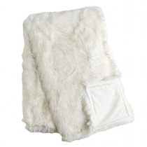 White 50 X 60 Inch Faux Fur Throw