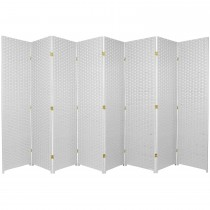 White 6 Feet - Tall Woven Fiber 8 Folding Panel