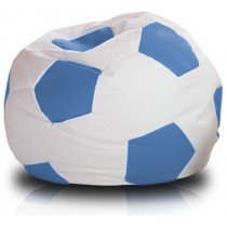 White And Sky Blue Soccer Ball Beanbag
