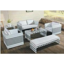 White & Black Design Garden PE Rattan Sofa Set
