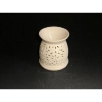 White Carving Ceramic Oil Burner