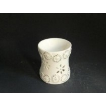 White Ceramic  Curved Golden Floral Craving Oil Burner