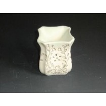 White Ceramic Curved With Golden Carving Oil Burner