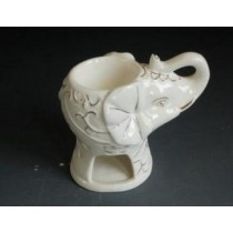 White Ceramic Elephant Shape Oil Burner With Golden Line