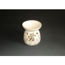 White Ceramic Golden Line & Design  Oil Burner