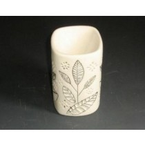 White Ceramic Leaf Carving Oil Burner(L 8 X W 8 X  H 12.6 Cm)