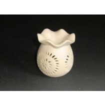 White Ceramic Oil Burner With Golden Line Painting