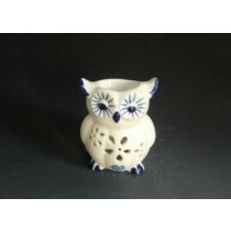 White Ceramic Owl Shape With Blue Design Oil Burner