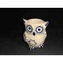 White Ceramic Owl Shape With Blue Design Oil Burner(L 9.5 X W 8 X H 12.7 CM)