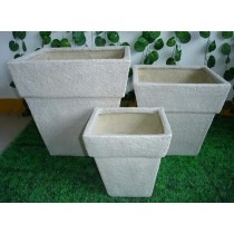 White Colored Fiber Stone Pots Set of 3 Pcs