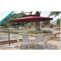 White & Cream Strip Design Garden Furniture Set With Umbrella