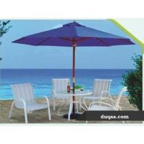 White & Cream Strip Design Resin Garden Furniture Set