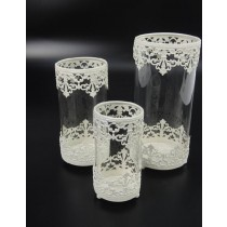 White Cutout Metal Design  Candle Holder (Set/3)