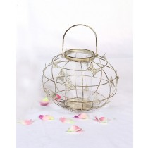 White Decorative Butterfly Metal Candle Holder