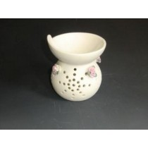 White Decorative Ceramic Pink Floral Oil Burner