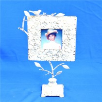 White Decorative Floral & Bird Carving Photo Frame