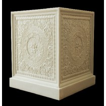 White Decorative Hand Carved Square Pedestal