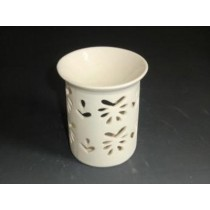 White Decorative Heart Carving Ceramic Oil Burner
