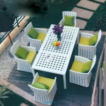 White Designer Garden PE Rattan Chair & Table Set