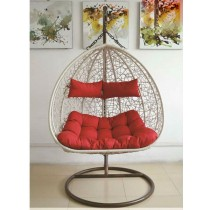 White Designer Lover Rattan Swing Chair
