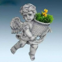 White Flying Angel Holding Flower Pot Sculpture