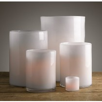 White Glass Hurricane Set of 5 Pcs