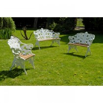 White Hand Cast Aluminium Garden Bench Set