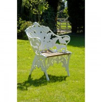 White Hand Cast Aluminium Single Seat Garden Bench